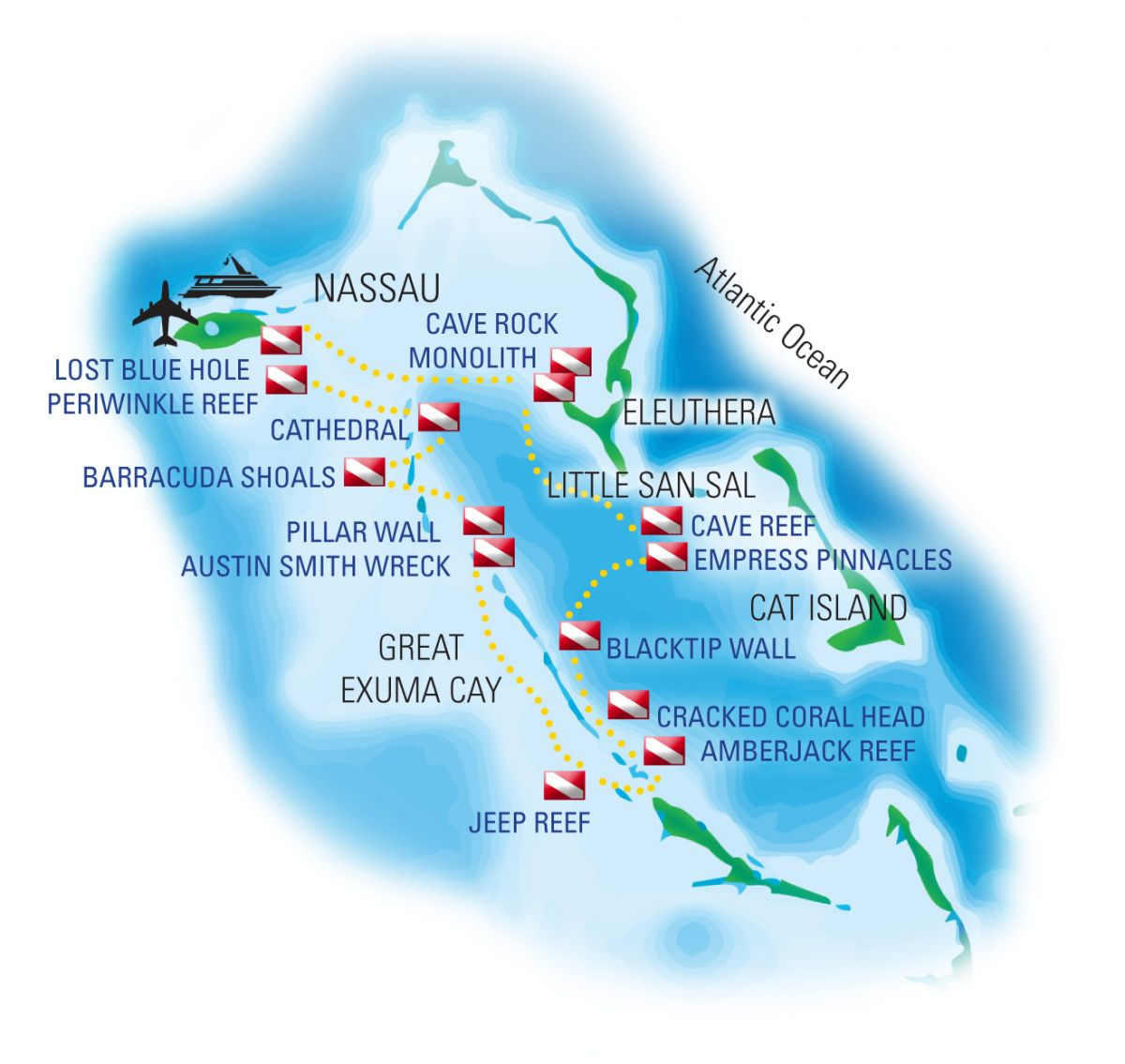 Bahamas Dive Sites Map
