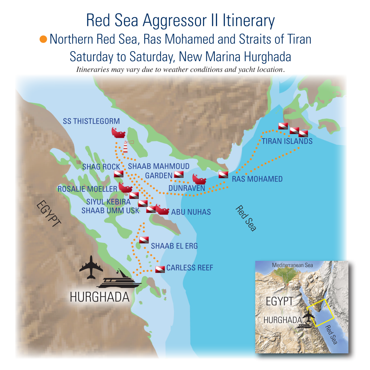 Red Sea Aggressor II Itinerary