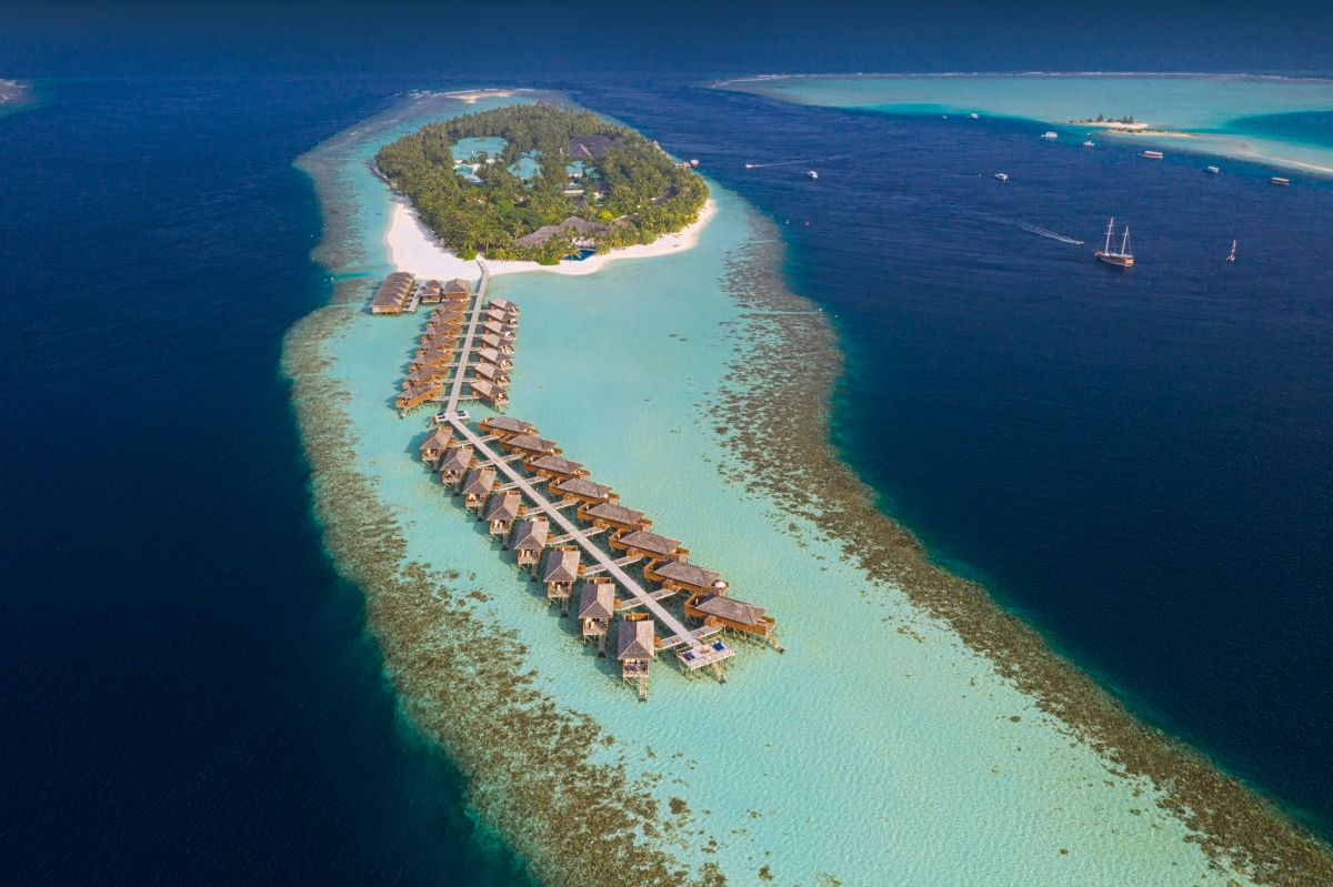 Aerial of Vilamendhoo Island Resort & Spa in the Maldives