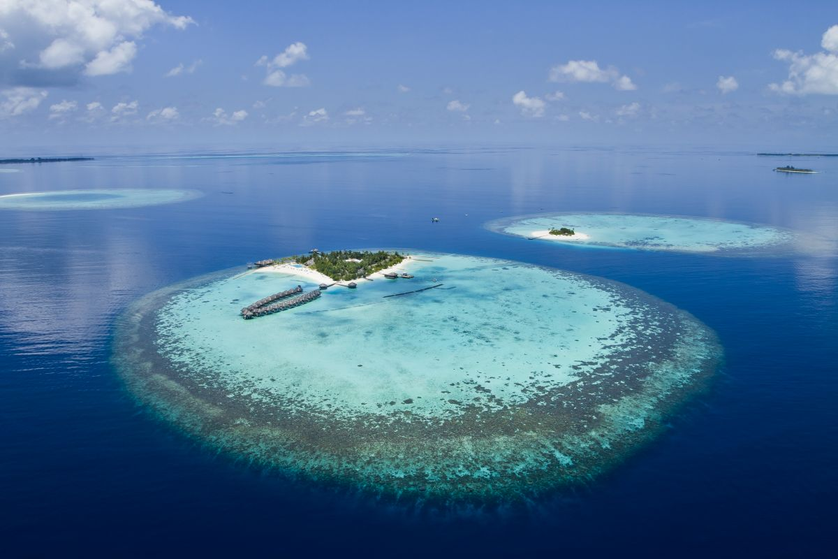 Aerial shot of island in the Maldives