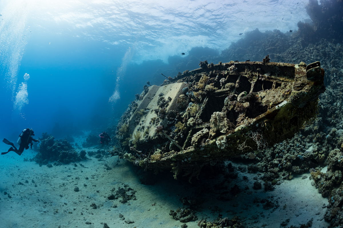 Divers exploring a wreck in the Red Sea