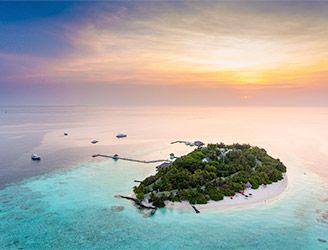 Aerial of Eriyadu Island Resort in the Maldives